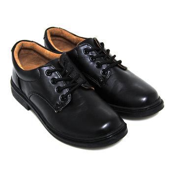 【Pretty】八孔綁帶式圓頭標準學生鞋皮鞋(女款)-黑色