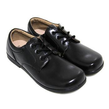 【Pretty】學院風六孔綁帶式寬圓頭低跟標準學生鞋皮鞋(女款)-黑色