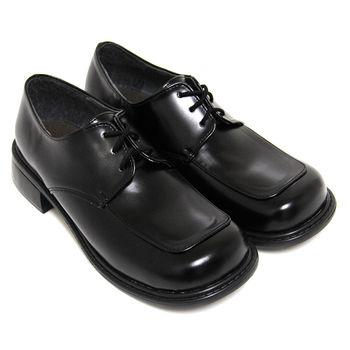 【Pretty】綁帶方頭低跟學生皮鞋(女款)-黑色