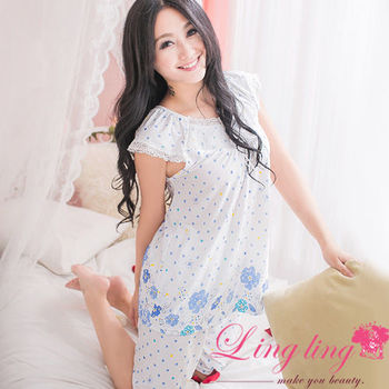 lingling日系 全尺碼-甜美花朵點點牛奶絲二件式睡衣組(甜美藍)A2388-01