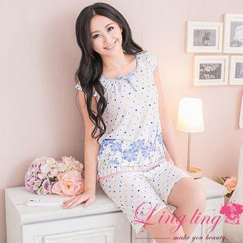 lingling日系 全尺碼-甜美點點印花牛奶絲綁結短袖二件式睡衣組(甜美藍)A2387-01