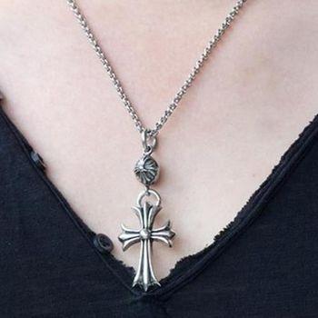 【米蘭精品】十字架鈦鋼項鍊吊墬時尚配件