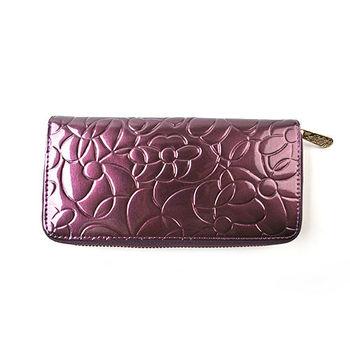 【PETiTEY】亮粉亮面 美味葡萄 10周年紀念版真皮山茶花長夾 皮包 錢包