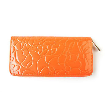 【PETiTEY】亮粉亮面 愛橙時效 10周年紀念版真皮山茶花長夾 皮包 錢包