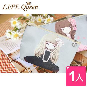【Life Queen】韓系印花萌女孩化妝包(6種款式)