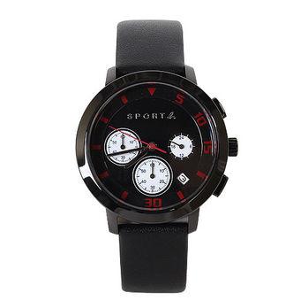 agnes b. SPORT b.系列皮錶帶手錶黑錶面(邊帶黑)