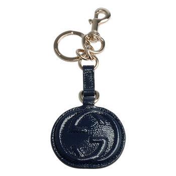 GUCCI SOHO 系列大LOGO小牛漆皮吊牌鑰匙圈(藏藍)
