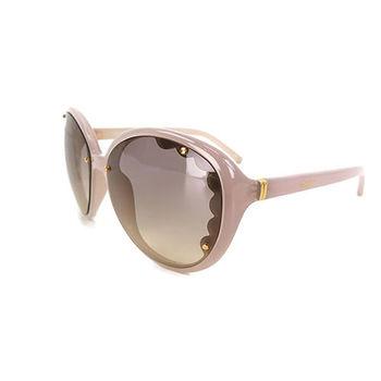 Chloe名模look粉藕色花邊大方框太陽眼鏡