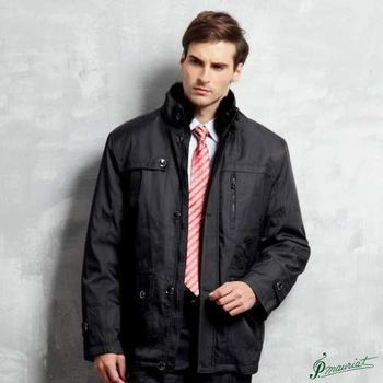 PAUL MAURIAT波爾.瑪亞型男卡兔毛領二件式風衣外套-立領