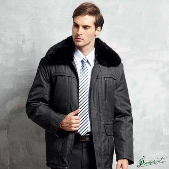 PAUL MAURIAT波爾.瑪亞型男卡兔毛領二件式風衣外套-黑色