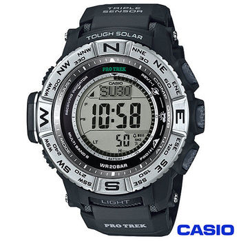 CASIO卡西歐 極地撼動多功能太陽能電波登山腕錶 PRW-3500-1