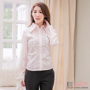【EE-LADY中大碼】OL 前襟皺褶彩色條紋長袖襯衫 (粉色)36-38吋