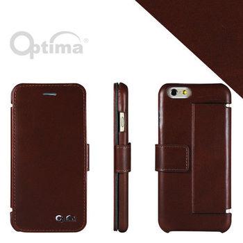 【Optima】iPhone 6/iPhone 6s側掀站立型皮套 真皮系列-咖啡