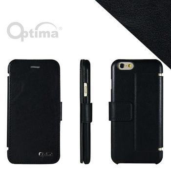 【Optima】 iPhone 6/iPhone 6s 側掀站立型皮套 真皮系列-黑