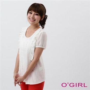 OGIRL鄉村風蕾絲上衣(白)