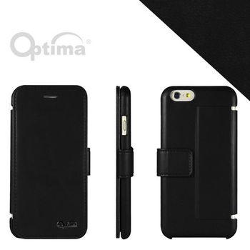 【Optima】iPhone 6/iPhone 6s 側掀站立型皮套 義大利皮革纖柔系列-黑