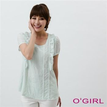 OGIRL鄉村風蕾絲上衣(粉綠)