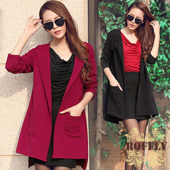 【ROFFLY蘿芙莉】預購-WM3003-時尚簡約版型雙口袋針織九分袖外套