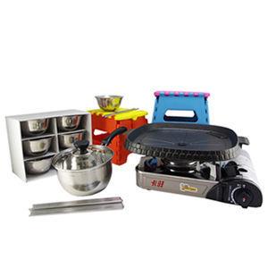 ☆豪華型烤肉5組合-款A☆卡旺-遠紅外線瓦斯爐K1-1200V+韓國NU-B烤盤+鍋+6組入碗筷+椅