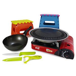 ☆經濟型烤肉5組合-款E☆卡旺K1-111V卡式爐+超級燒烤盤K1BQ-007+鍋+陶瓷刀組+椅