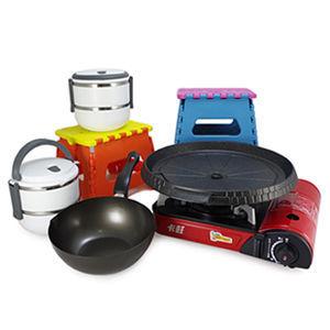 ☆經濟型烤肉5組合-款D☆卡旺K1-111V卡式爐+韓國NU-O烤盤+鍋+飯盒+椅