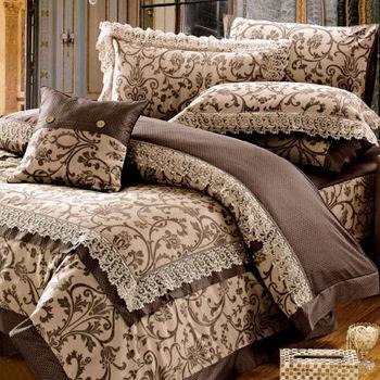 【KOSNEY】奢華愛情 頂級特大匹馬棉蕾絲八件式床罩組