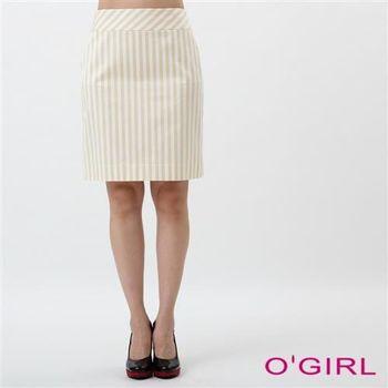 OGIRL經典不敗條紋短裙(卡其)