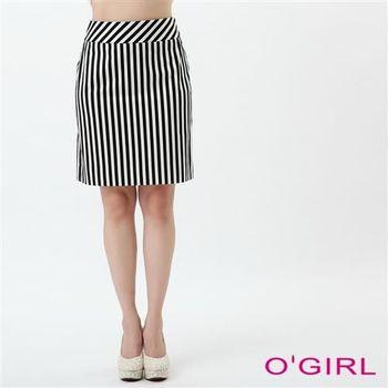 OGIRL經典不敗條紋短裙(黑)