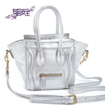 【88Queen❤包包女王】時尚最新金屬色系迷你囧臉包-銀色