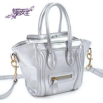 【88Queen❤包包女王】時尚金屬色中型囧臉包-銀色