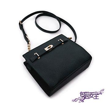 【88Queen❤包包女王】十字皮紋鏈帶迷你凱莉包-黑色