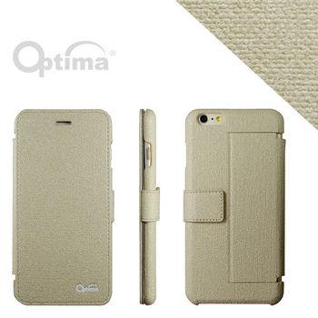 【Optima】 iPhone 6 Plus/6s Plus 側掀站立型皮套 義大利皮革亞麻系列-亞麻色