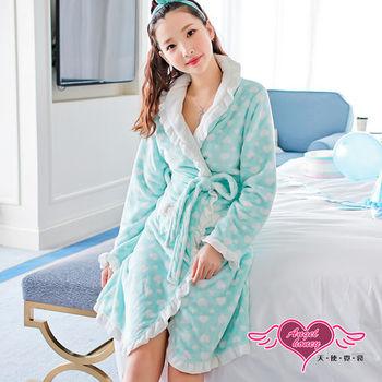 天使霓裳 睡袍 法蘭絨印花荷葉邊居家睡衣(綠F) -ZB6041