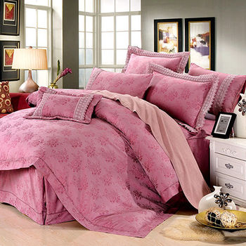 【KOSNEY】愛情美感 60支活性精梳棉蕾絲緹花雙人八件式床罩組