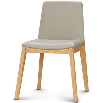 【椅吧】設計質感實木灰色皮面餐椅