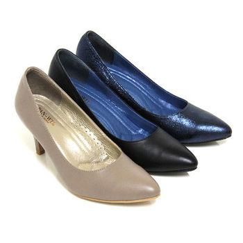 【GREEN PHOENIX】高尚優雅極簡素面全真皮尖頭高跟鞋-藍色、可可色、黑色