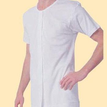 樂齡 日本製男用前開式自粘內衣 - 半袖 穿脫簡單設計