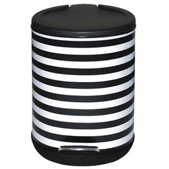 家簡塵除-黑白條紋腳踏式垃圾桶(5L)