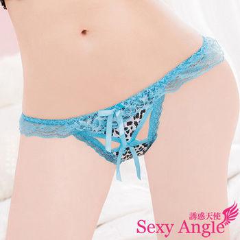 【誘惑天使】C047-3搖滾甜心*粉彩豹紋蕾絲丁字褲(搖滾藍)