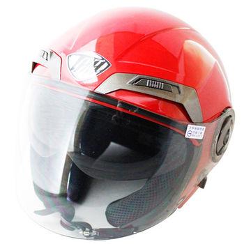 勇氣可掀式雙鏡片半罩安全帽T314A-紅白+新一代免洗安全帽內襯套6入