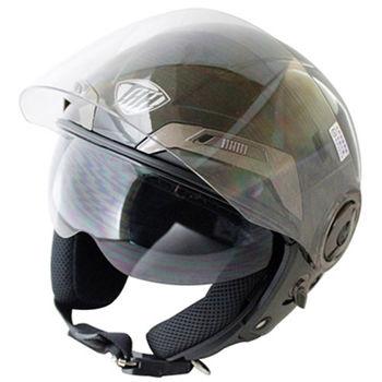 勇氣可掀式雙鏡片半罩安全帽T314A-黑白+新一代免洗安全帽內襯套6入