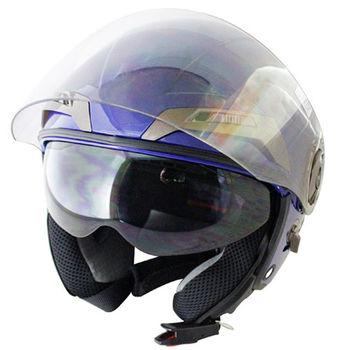 勇氣可掀式雙鏡片半罩安全帽T314A-藍白+新一代免洗安全帽內襯套6入