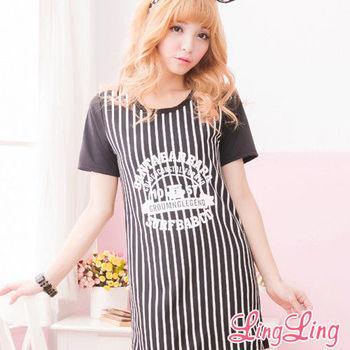 【lingling】直紋壓英字棒球式短袖長版T(簡約黑)A1421-03