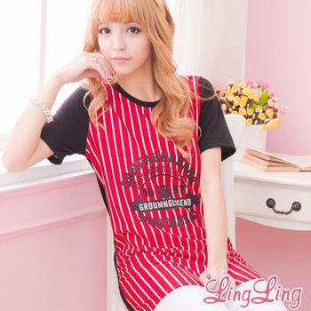 【lingling】直紋壓英字棒球式短袖長版T(個性紅)A1421-02