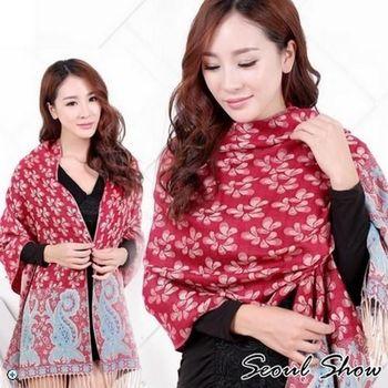 【Seoul Show】樓蘭葉語 純棉編織圍巾(紅色)
