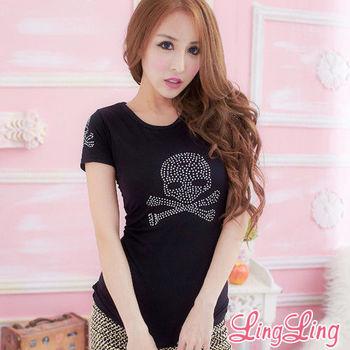 【lingling】鑽點骷髏T恤(簡約黑)A1552-02