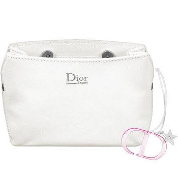 Dior 迪奧 幸運星LOGO壓克力吊飾+壓紋磁扣Beaute化妝包(白)