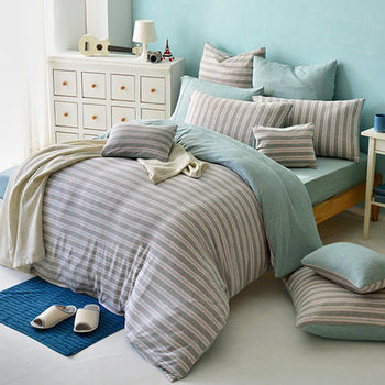 義大利La Belle《斯卡線曲-灰綠》單人三件式色坊針織被套床包組