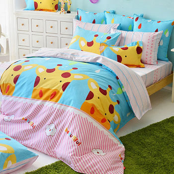 義大利Fancy Belle《晴天小鹿》雙人四件式防蹣抗菌舖棉兩用被床包組