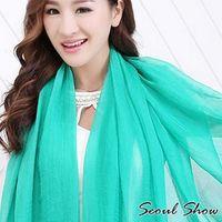 ~Seoul Show~超大版素面單色雪紡絲巾圍巾披肩12色 ^#40 湖綠色 ^#41